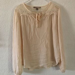 Forever21 Cream & Lace Blouse